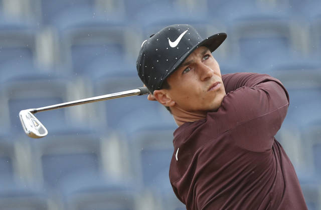File - In this Friday, July 20, 2018 file photo, Thorbjorn Olesen of Denmark plays off the 3rd tee during the second round of the British Open Golf Championship in Carnoustie, Scotland. Thorbjorn Olesen, Eddie Pepperell and Matthew Fitzpatrick are bidding to become the eighth automatic member of a Ryder Cup Europe team seeking to regain the cup from the United States in Paris this September. (AP Photo/Peter Morrison, File)