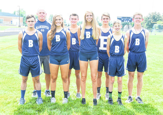The Blanchester High School boys and girls cross country teams, from left to right, front row, Tyler Holland, Alexis Davis, Olivia Gundler, Brett Bandow; back row, head coach Tony Blevins, Ricky Davis, Sean Holland, Matt O'Neill.