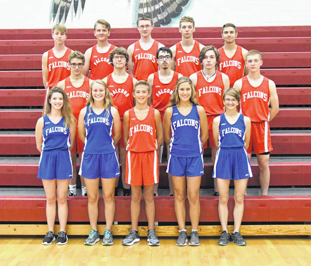 The Clinton-Massie High School cross country teams, from left to right, front row, Lilly Lentine, AJ Houseman, Bryce Hensley, Emma Muterspaw, Maddie Spiewak; middle row, Luke Lentine, Travis Smith, Toby Hayes, Aiden Wallace, Logan Fisher; back row, Brennen Swope, Connor Hendrickson, Alex Shelton, Colin McDowell, Seth Goodall.