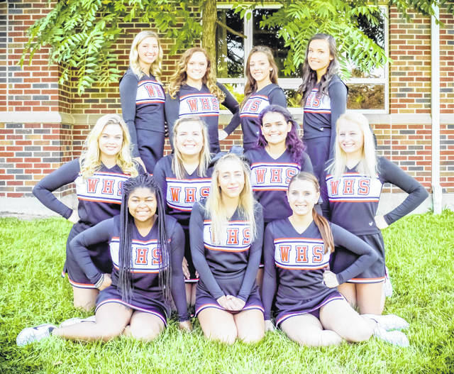 The Wilmington High School varsity football cheerleaders, from left to right, front row, Mahqgany Collins, Kylynn Jordan, Hannah Gaines; middle row, Kylie Price, Ady Watson, Haley Reynolds, Erica Preston; back row, Leah Deck, Abby Bowman, Olivia Lewis, Keeley Allen. Head coach Sheena Henry, assistant coach Ilayna Busch and technique coach Ashley Davis were not present for the photo.