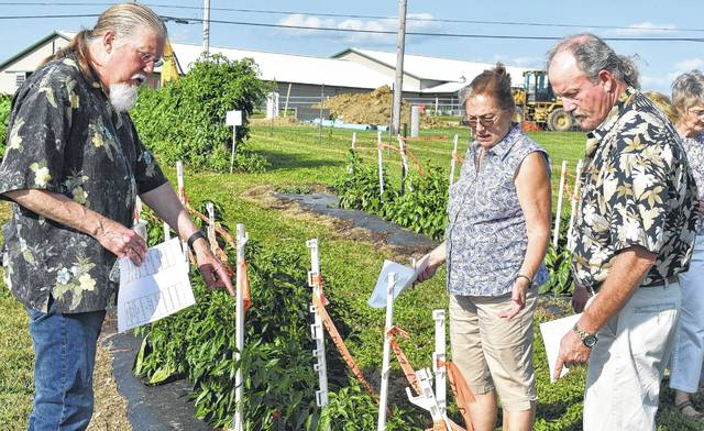 From left, Hugh O'Neill, John and Pam Myers, during last year's Tomadah Paradah, look at the variety of peppers growing at the Wilmington College's academic farm.