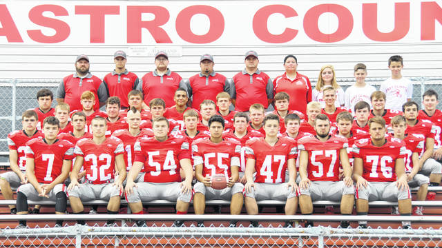 The East Clinton High School football team, from left to right, front row, Austin Rolfe, Cameron Yankey, Logan McPherson, Austin Arellano, Seth Garrison, Daulton Wilson, Robert Norman; second row, Todd Wedding, Taylor McComas, Brad Fast, Clayton Hansford, Nathan Vest, Brody Fisher, Kane Moreton, Aiden Morgan; middle row, Jared Smith, Cameron Vadnais, Kaleb Kingery, Jayson Edison, Mitchell Bean, Michael Horn, Mason Huff, Garrett Elzey; fourth row, Gunner Neanover, Patrick Dotson, Chris Norman, Jaden Singleton, Branson Smith, Cade Stewart, Landon Runyon, Garrett Kier, Tristan Burkitt; back row, assistant coaches Mark Scovanner, Clyde Snow, Steve Olds, Daniel Day, head coach Jeremy Yankey, trainer Kari Terrell, student managers Josie Runk, Lucas Runk, Kasen Terrell.