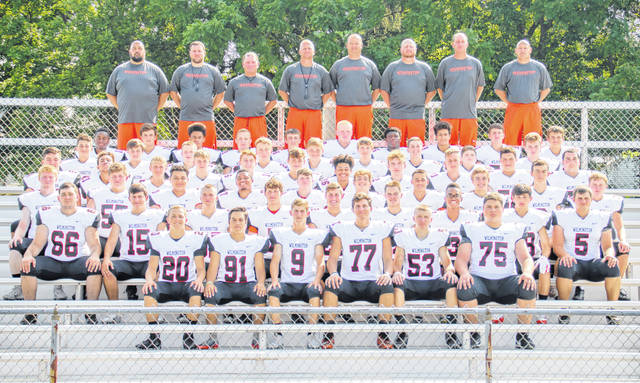 The Wilmington High School football team, from left to right, front row, Ben McCallister, Brady Henry, Mason McIntosh, Justus Farris, Hayden Dale, Alex Flanigan; second row, Trevor LeForge, Ryan Camp, Austin Brummett, TJ Rockhold, Grant Mayer, Logan Frazier, Willie Morris, Branson Rosenworth, Brady Evans; third row, Craig Schiff, Gavin Moyer, Tramail Hollins, Kyle Holland, Noah Stirr, Dom Davidson, Cam Coomer, Rory Bell, Chris Custis, Conner Mitchell; fourth row, Brock Rappach, Kendal France, TJ Killen, Josh Andrews, Logan Cook, Peyton Hibbard, Triston Williams, Truestin Barnes, Carter Huffman, Elijah Rockhold, Elijah Martini; fifth row, Cam McEvoy, Lee Lynch, Wyatt Wright, Hunter Davis, Remington Smith, Jefferey Valentine, Kyle Bryant, Austin Pagett, Braden Sturgill; back row, Kyreme Adams, Parker Henry, Malik Scott, Braiden Smith, Isiaih Rigling, Andrew Stewart, Brett Brooks, Zaine Cowin, Jason Rittenhouse, Michael Reynolds.