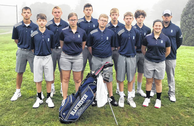 The Blanchester High School golf team, from left to right, front row, Jacob Hamm, Regan Grogg, Bryce Bandow, Brian Miller, Ashlin Benne; back row, Trenton Czaika, Jacob Miller, Logan Heitzman, Ian Heeg, Kyle Adams, head coach Aaron Lawson.