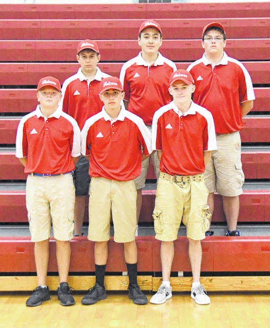 The Clinton-Massie High School boys golf team, from left to right, front row, Kaleb Hughes, Ethan Johnson, Carsyn Creager; back row, Colt Myers, Michael Moritz, Clay Carroll.