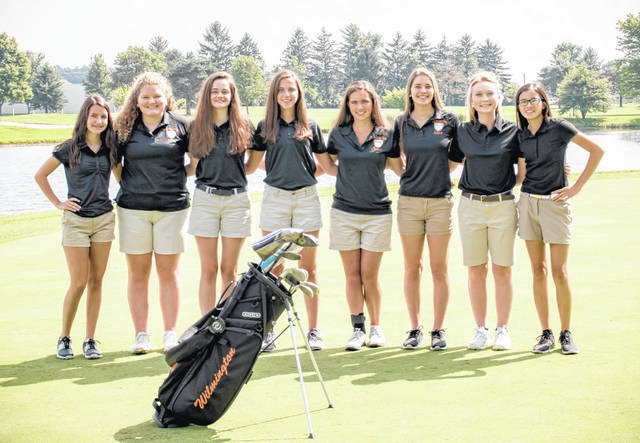 The Wilmington High School girls golf team, from left to right, Carsyn Custis, Maddie Steinmetz, Adrienne Besser, Meredith Robinson, Carrie Robinson, Brooklyn Taylor, Madison Gilbert, Lilly Middleton. Team member Chole Deck was not present for the team picture.