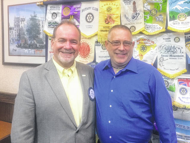 "From left are Dan Evers, President of the Wilmington Rotary Club, and Dow Tippett, ""The Barefoot Speaker."""