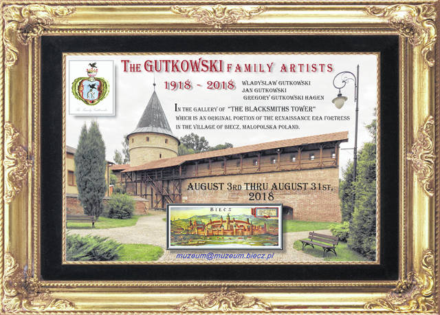 This is the show poster for an art show displaying four generations of Gutkowski Family artwork. Scheduled for August, the show had to be postponed, but will be held later.