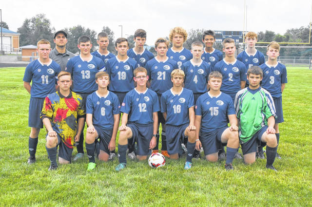 The Blanchester High School boys soccer team, from left to right, front row, Aaron Drexler, Cameron Skidmore, Matthew O'Neill, Colton Wilson, Jordan Gray, Gavin Colebank; middle row, Tanner Kellermann, Jasper Damewood, Carter Stevens, Aaron Abirached, Taylor Cochran, Reagan Burch, Cameron Gibson; back row, head coach Troy Ballinger, Jacob Haun, Josh Helton, Kellen Staehling, Seth Akers, Hunter Hartmann. Team member Nicholas Lansing was not present for the photo.