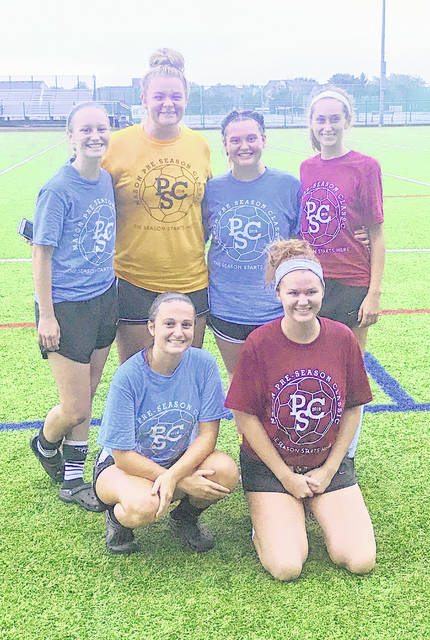 Several area soccer players participated in the Mason Preseason Classic Senior Showcase soccer game at Mason High School. The showcase consisted of players of all ages playing in a tournament format which was held at Heritage Oak Park in Mason. Select players then took part in the senior all-star game on the high school field. In the photo, from left to right, front row, McKenna Crawford from Clinton-Massie, Kali Cochran from Lynchburg-Clay; back row, AJ Houseman from Clinton-Massie, Regan Ostermeier from Blanchester, Sara Helling from Clinton-Massie and Emily Hinkle from Blanchester. Savannah Cochran from Lynchburg-Clay was not present for the photo.