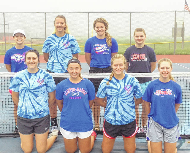 The Clinton-Massie High School girls tennis team, from left to right, front row, Jenn Callewaert, Lindsey Amberger, Hailey Clayborn, Kari Cragwall; back row, Elizabeth Mason, Nina Lazic, Liza Duncan, Raelee Schulz. Team member Kenzie Stinchcomb was not present for the photo.