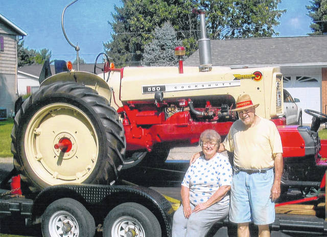 Miles and Kay Barrere celebrated their 60th wedding anniversary with their 1958 Cockshutt tractor.