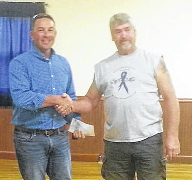 At Wednesday night's Wilmington Post 49 American Legion Riders August meeting, Sean Dennehy received a $1,000 donation for the 2018 Operation Cherrybend program. It was presented by Charlie Shoemaker, Riders Commander. The money was raised at the Murphy Theatre Bike Night and last month's Ride To Remember. More information is available about Operation Cherrybend on Facebook.