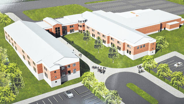 In this architect's rendering the building on the left, plus the middle section of the horseshoe-shaped structure, would be the newly constructed portion of the proposed project on the Lees Creek campus. The existing high school facility is what you see on the right.