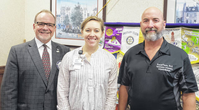 From left are: Dan Evers, President of the Wilmington Rotary Club; Kelsey Swindler, Marketing and Communications Coordinator at Clinton Memorial Hospital; and Dr. Ken Vawter, Orthopedic Surgeon with Performance Orthopedics and Sports Medicine.