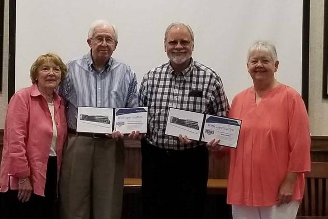 From left are Carolyn Matthews, Fred Matthews, Modern Woodmen District Agent Dan Mayo, and Sandy Campbell.