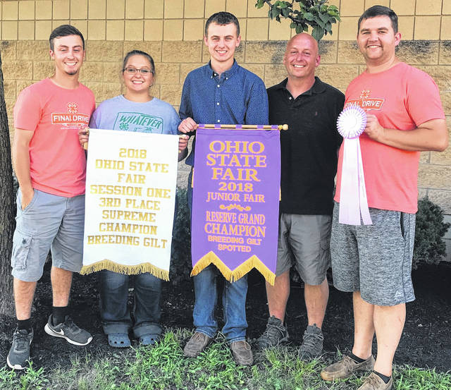 Matt Younker of Wilmington exhibited the Reserve Grand Champion Spotted Breeding Gilt and the Third Overall Supreme Champion Gilt in the Junior show at the 2018 Ohio State Fair. Younker also claimed the title of the Grand Champion Spotted Breeding Gilt Overall in the Open show at the Ohio State Fair.