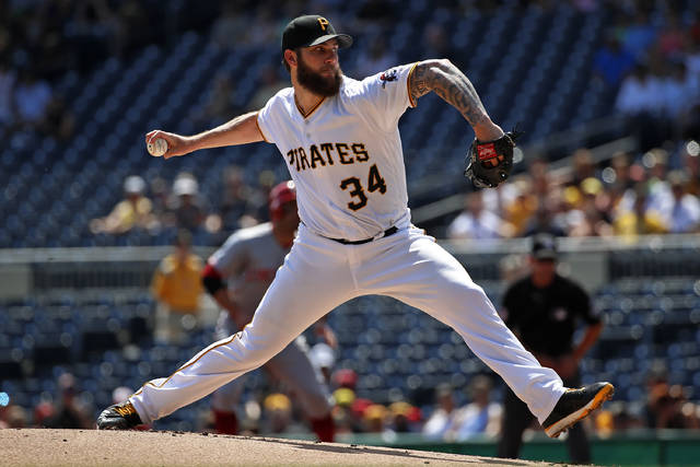 Pittsburgh Pirates starting pitcher Trevor Williams delivers in the first inning of a baseball game against the Cincinnati Reds in Pittsburgh, Monday, Sept. 3, 2018. (AP Photo/Gene J. Puskar)