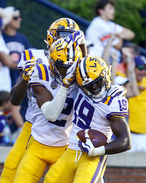 LSU wide receiver Derrick Dillon (19) celebrates with teammates after scoring a touchdown during the second half of an NCAA college football game against Auburn, Saturday, Sept. 15, 2018, in Auburn, Ala. (AP Photo/Butch Dill)