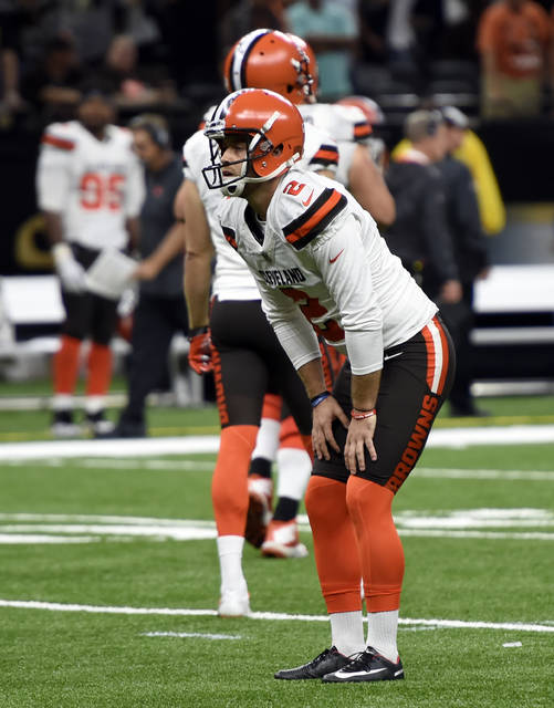 Cleveland Browns kicker Zane Gonzalez reacts after missing an extra point during the second half of an NFL football game against the New Orleans Saints, in New Orleans Sunday, Sept. 16, 2018. (AP Photo/Bill Feig)