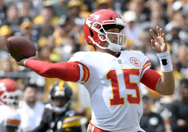 Kansas City Chiefs quarterback Patrick Mahomes (15) plays in the first quarter of an NFL football game against the Pittsburgh Steelers, Sunday, Sept. 16, 2018, in Pittsburgh. (AP Photo/Don Wright)