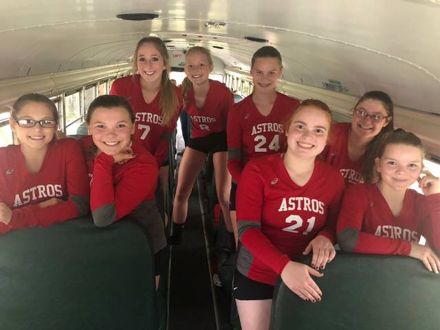 The East Clinton freshman volleyball team defeated Dayton Chaminade-Julienne 25-27, 25-20, 25-16, according to coach Sarah Sodini. Team members are, from left to right, front row, Myah Anteck, Regan Walker, Jenna Stanley, Alycia Barker; back row, Lydia Kessler, Kelsi Lilly, Bryson Roach, Anna Malone.