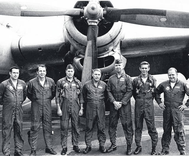 Set for a training flight in a KC-97 — a Boeing strategic tanker/aerial refueler — at Clinton County Air Force Base sometime in the late 1960s were, from left: unknown, Paul Hunter, Bill Easly, James Witters, unknown, Ron Ramsey and John Young. According to internet sources, the plane was 117 feet long with a wingspan of 141 feet and 38 feet high, with a loaded weight of 153,000 pounds, a maximum speed of 400 mph and a range of 2,300 miles.