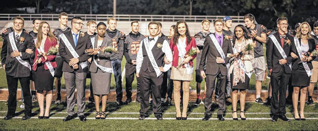 Wilmington High School recognized its homecoming court this week. From left are Austin Brummett, Jordan Snarr, Isaac Hicks, Mya Jackson, Ryan Lewis, Keeley Allen, Garrett Neff, Zane Bekheet, Micah Patterson, and Aubree Trusty.