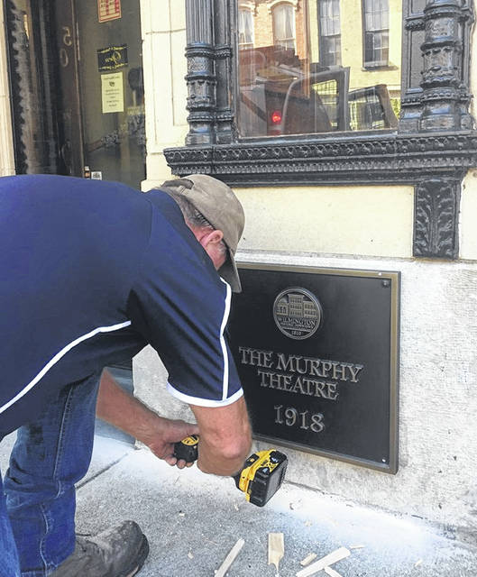 The marker for the Murphy Theatre is installed.