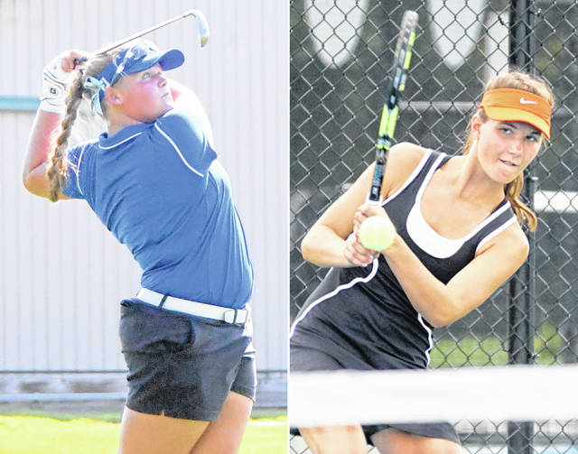 Clinton-Massie's Gabby Woods, left, and Wilmington's Allie Kees will be among the featured athletes in action Thursday around Southwest Ohio. Kees and her Lady Hurricane teammates, and Clinton-Massie and the rest of the SBAAC American Division girls tennis teams will compete in the league tournament on the WHS courts beginning at 9 a.m. Woods, her CM teammates as well as golfers from Blanchester and East Clinton will compete in Division II sectional tournaments — Massie at the Hamilton Elks and BHS and EC at Xenia's WGC Golf Course.