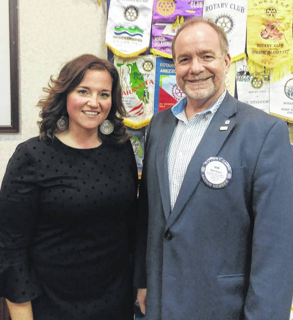 Amanda Harrison, President and CEO of the United Way of Clinton County, and Dan Evers, President of the Wilmington Rotary Club.