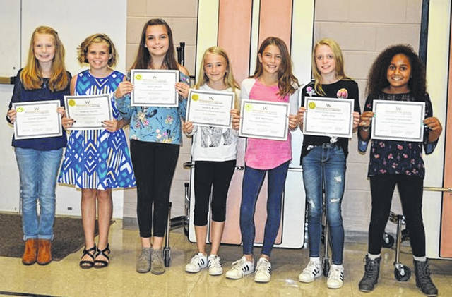 These East End Elementary fifth-grade girls serve as mentors and come to school early and help with the young preschool children at arrival time. They are from left Shelby Leaming, Isabella Coates, Riley Gerber, Meiley Black, Lilly Trentman, Alexa Rich and Samarra Crawford.