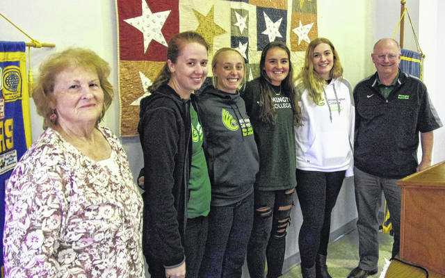 The Wilmington College women's basketball team and head coach Jerry Scheve spoke to Wilmington Kiwanis last Thursday about their upcoming 2018-2019 basketball season and their recent summer trip to Costa Rica. This is the fifth year that the team has started Kiwanis' new year (October 2018-September 2019) as program speakers. This Saturday, Oct. 27, Kiwanis will hold its annual Pancake Breakfast at the Wilmington Presbyterian Church, 840 Timber Glen Road, from 8 a.m.-noon. Cost is $5 per person. Funds raised from the breakfast help with Wilmington Kiwanis' various community service projects such as Key Clubs, 4-H, Boy Scouts, and the BUGS program.