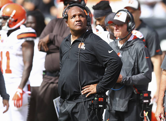 Cleveland Browns head coach Hue Jackson watches from the sideline during the first half of an NFL football game against the Oakland Raiders in Oakland, Calif., Sunday, Sept. 30, 2018. (AP Photo/Ben Margot)