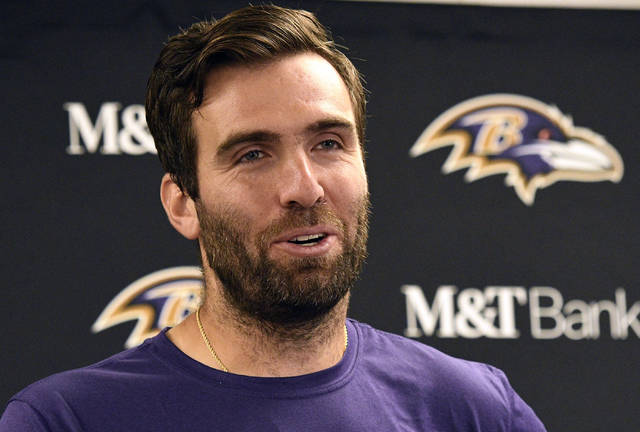 Baltimore Ravens quarterback Joe Flacco talks with reporters after a 26-14 win over the Pittsburgh Steelers in an NFL football game in Pittsburgh, Monday, Oct. 1, 2018. (AP Photo/Don Wright)