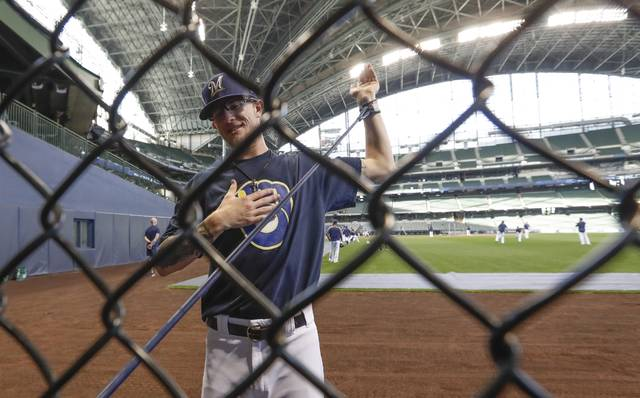 Milwaukee Brewers' Josh Hader stretches during batting practice for the National League Divisional Series baseball game Wednesday, Oct. 3, 2018, in Milwaukee. (AP Photo/Morry Gash)