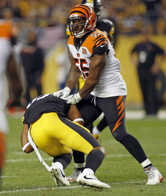 FILE - In this Oct. 22, 2017, file photo, Cincinnati Bengals outside linebacker Vontaze Burfict (55) shoves Pittsburgh Steelers tight end Xavier Grimble (85) to the ground as he attempts to get up after catching a pass during the second half of an NFL football game, in Pittsburgh. The Bengals had two 15-yard penalties that helped the Steelers win a playoff game at Paul Brown Stadium in the 2015 season. They set a club record with 173 yards in penalties as Pittsburgh rallied to pull another one out last December. The theme for this week: Keep cool when the Steelers come to town again. (AP Photo/Keith Srakocic, File)