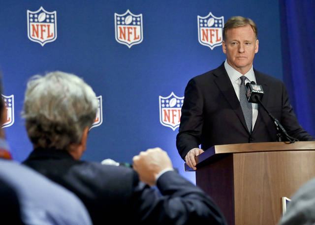 NFL commissioner Roger Goodell listens during a press conference after the NFL owners meetings, Wednesday, Oct. 17, 2018, in New York. (AP Photo/Bebeto Matthews)