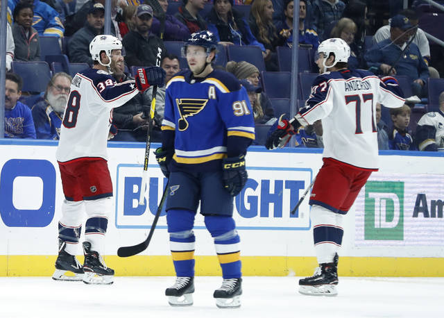 Columbus Blue Jackets' Boone Jenner, left, is congratulated by Josh Anderson (77) after scoring as St. Louis Blues' Vladimir Tarasenko, of Russia, skates past during the second period of an NHL hockey game, Thursday, Oct. 25, 2018, in St. Louis. (AP Photo/Jeff Roberson)