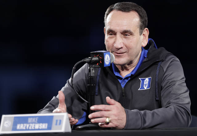 Duke head coach Mike Krzyzewski speaks to the media during a news conference at the Atlantic Coast Conference NCAA college basketball media day in Charlotte, N.C., Wednesday, Oct. 24, 2018. (AP Photo/Chuck Burton)
