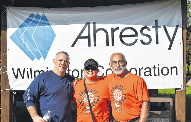 From left, Ahresty VP of Operations Mike Frazier, Ahresty Financial Manager Fadi Al-Ghawi, and Tamika Mallow of Ahresty's Human Resources at the company's 30th Anniversary Party on Saturday at Denver Williams Park.