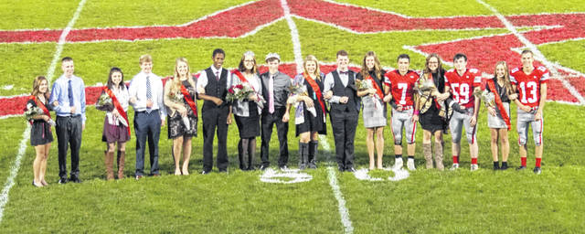 Megan Stewart was crowned queen and Zach Mitchell was crowned king Friday during East Clinton Homecoming festivities. In the photo, from left to right, sophomore attendant Alexis Rolfe and escort Carter Carey, senior queen candidate Tiffani Bailey and senior king candidate Shane Streber, senior queen candidate Ashley Diane Kinner and senior king candidate Shmar Hyman, Stewart and Mitchell, senior queen candidate Olivia Rice and senior king candidate Zane Everhart, senior queen candidate Kaitlin Durbin and senior king candidate Austin Rolfe, junior atttendant Kiya Byrd and escort Mason Huff and freshman attendant Lydia Kessler and escort Landon Runyon.