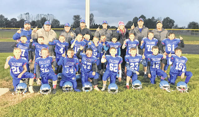 "The Clinton-Massie fourth grade football team will play for its league championship 11:30 a.m. Saturday at Monroe High School. The young Falcons will face Brookville in the title game. Clinton-Massie has a 9-1 record this season and has outscored its opponents 362 to 32. The only regular season loss came against Bellbrook, a team they defeated last week in the tournament. In the photo, from left to right, front row, Eli Sheeley, Ty ""Curly"" Martin, Luke Myers, Corey Frisch, Greg Goings Jr., Carter Fouch, Ryan Anderson, Micah Ruther; middle row, Cobe Euton, Elias ""Chipper"" Robinett, Kaiden Smith, Conner Musser, Christopher Back, Peyton Warren, Wesley ""Crazy Legs"" Blankenship, Elijah Allen, Quin McCoy, Cooper Fouch, Terrell Brooks; back row, coach Tony Anderson, head coach Aaron Clutter, coach Jason Frisch, coach Tracey Euton, coach Greg Goings Sr., team mom Amanda Musser, coach Justin Phipps, coach Hilma Crawford."