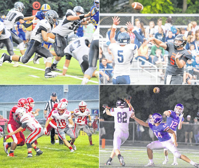 The 2018 high school football regular season is upon us. This week, the four Clinton County schools square off in two games — Wilmington at Clinton-Massie, and Blanchester at East Clinton. All games are set to kick-off at 7 p.m. Friday. In the photos, clockwise from top left, are Blanchester's Brent Hopkins (1); Wilmington's Brady Evans (5); Clinton-Massie's Corey Stulz (12) and Colton Doyle (44); and East Clinton's Tristan Burkitt (23), Kaleb Kingery (18) and Todd Wedding (24).