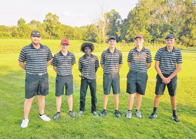 The Wilmington High School boys golf team, champions of the SBAAC American Division, from left to right, coach Phil Gilmore, Jack Murphy, Ely Schumacher, Braydon Conley, Brendan Powell, Zane Carey. Team member Ryan Lewis was not present for the photo.
