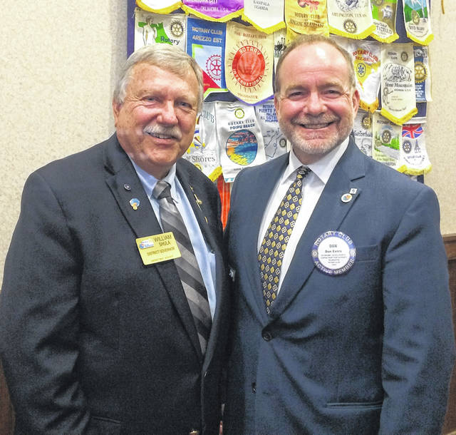 From left are Bill Shula, District Governor of Rotary, and Dan Evers, President of Wilmington Rotary.