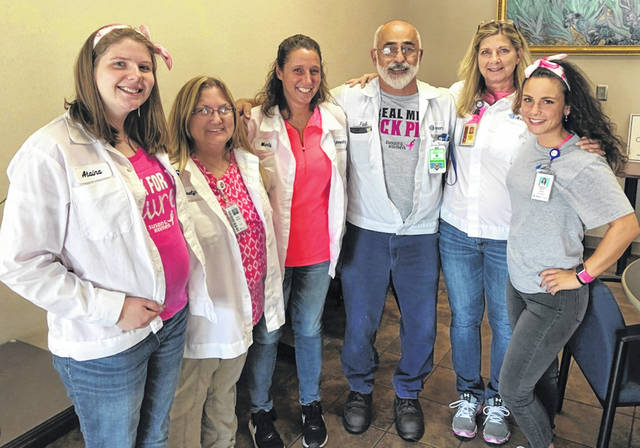 Ahresty associates participated in Pink Day on Wednesday, Oct. 24 at the Wilmington plant in support of Cancer Awareness Month. From left are Alaina Thiel, Evelyn Wiseman, Marty Bickett, Fadi Al-Ghawi, Carla Blakeman and Stephanie Fetters.