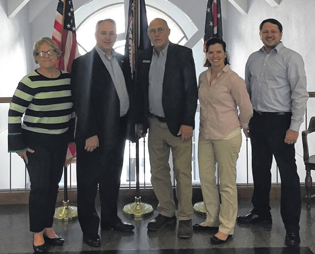 State Rep. (R-OH 84th District) and Republican candidate for Ohio auditor Keith Faber stopped by Clinton County on Tuesday. From left are Wilmington Deputy Auditor Mary Kay Vance, Faber, Mayor John Stanforth, City Administrator Marian Miller and Service/Safety Director Brian Shidaker.