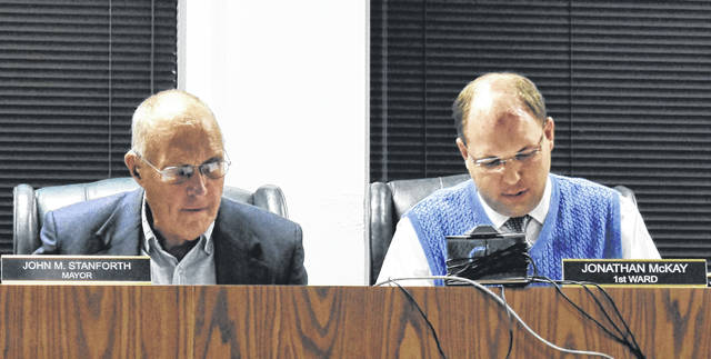 Mayor John Stanforth, left, sits next to Councilmember Jonathan McKay, who was appointed temporary Council President during Thursday's Wilmington City Council meeting. Council President Mark McKay was absent due to traveling, and President Pro Tem Kelsey Swindler was absent due to recently giving birth to her son.