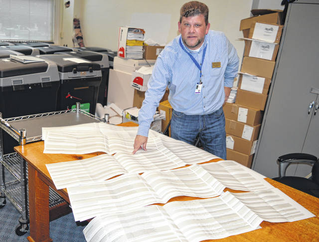 On the sheets is a lengthy checklist of items regarding elections cybersecurity. Clinton County Board of Elections Director Shane Breckel, pictured, spent much of the summer immersed in the topic.
